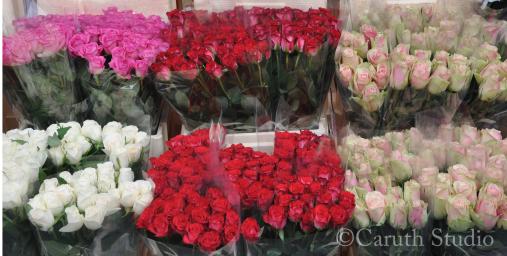 Florist roses at market