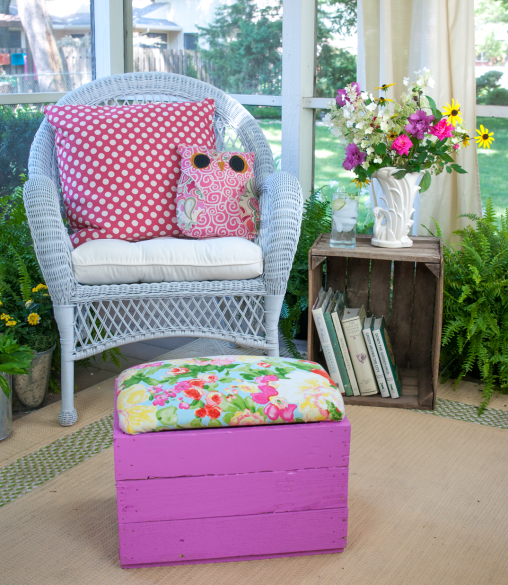 Covered crate footstool