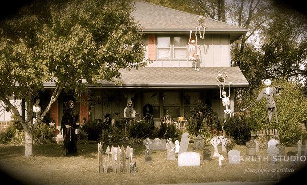 Two story house decorating for Halloween