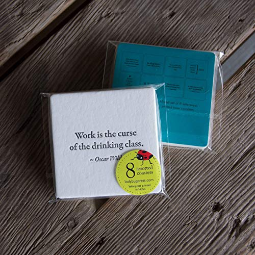 BEER Quote Coasters, mixed set of 8