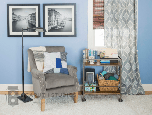 Library cart in living room
