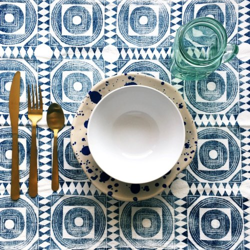 Moroccan Tile Napkin Set - Hand Printed Cloth Napkins