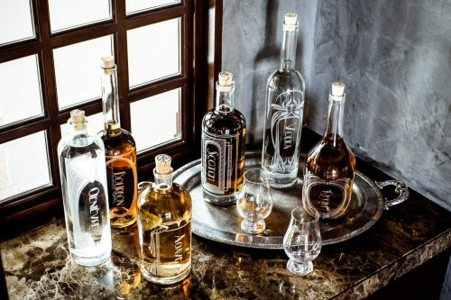 The Variance Set of 3-Etched Glass Spirit Decanters