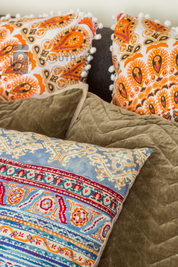 Pile of patterned pillows