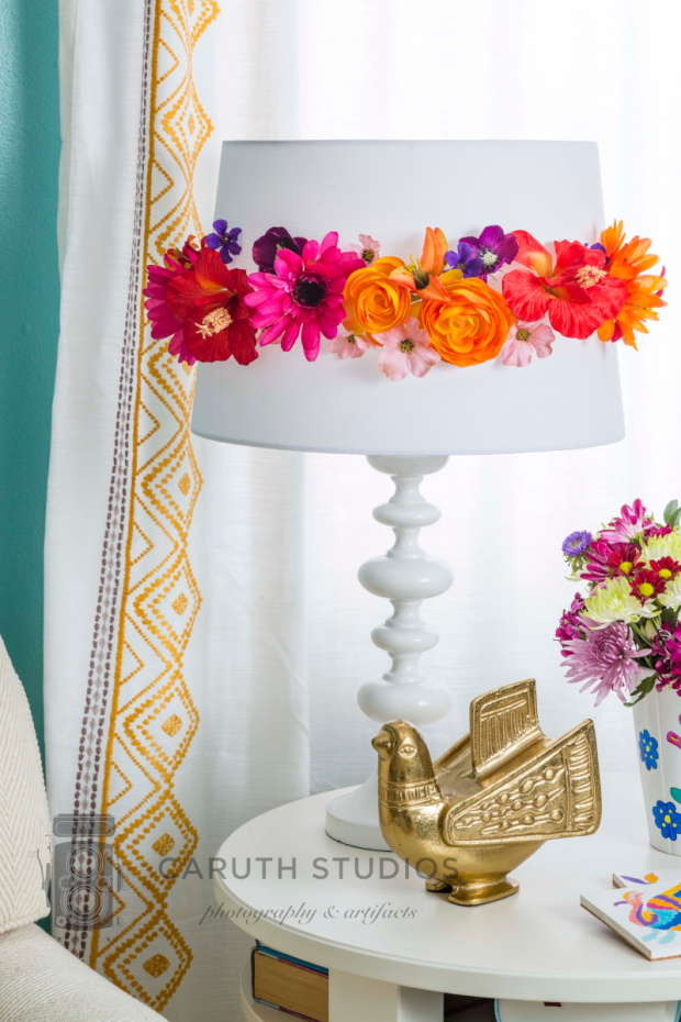 Flower decked lampshade