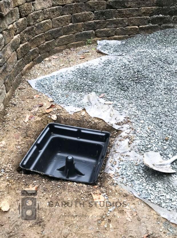 fountain basin in gravel