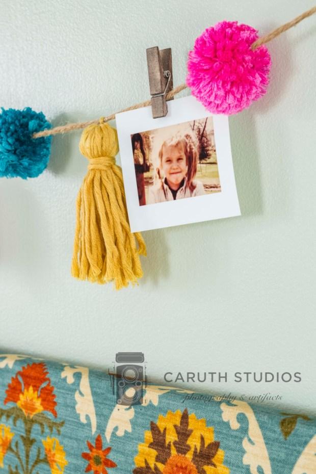 Photo on pompom tassel garland