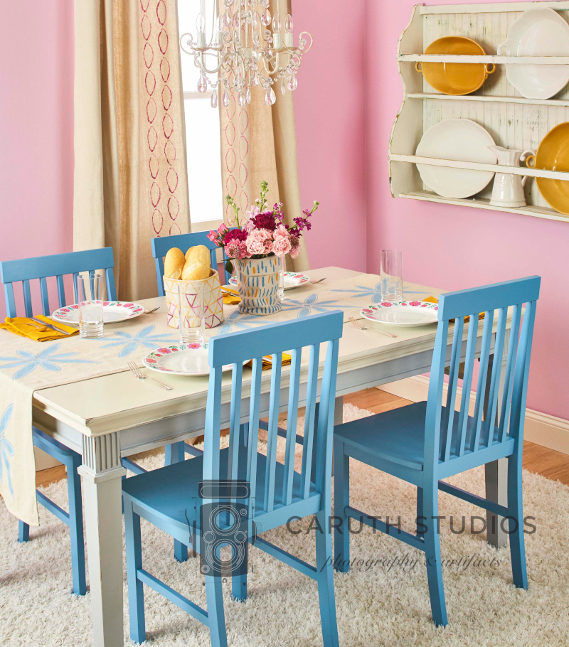 Drop cloth dining room
