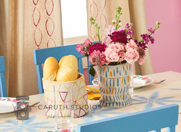 Painted drop cloth baskets