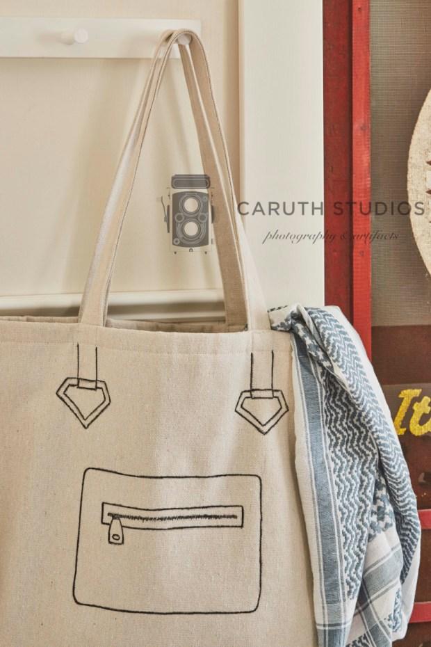 Painted drop cloth tote bag