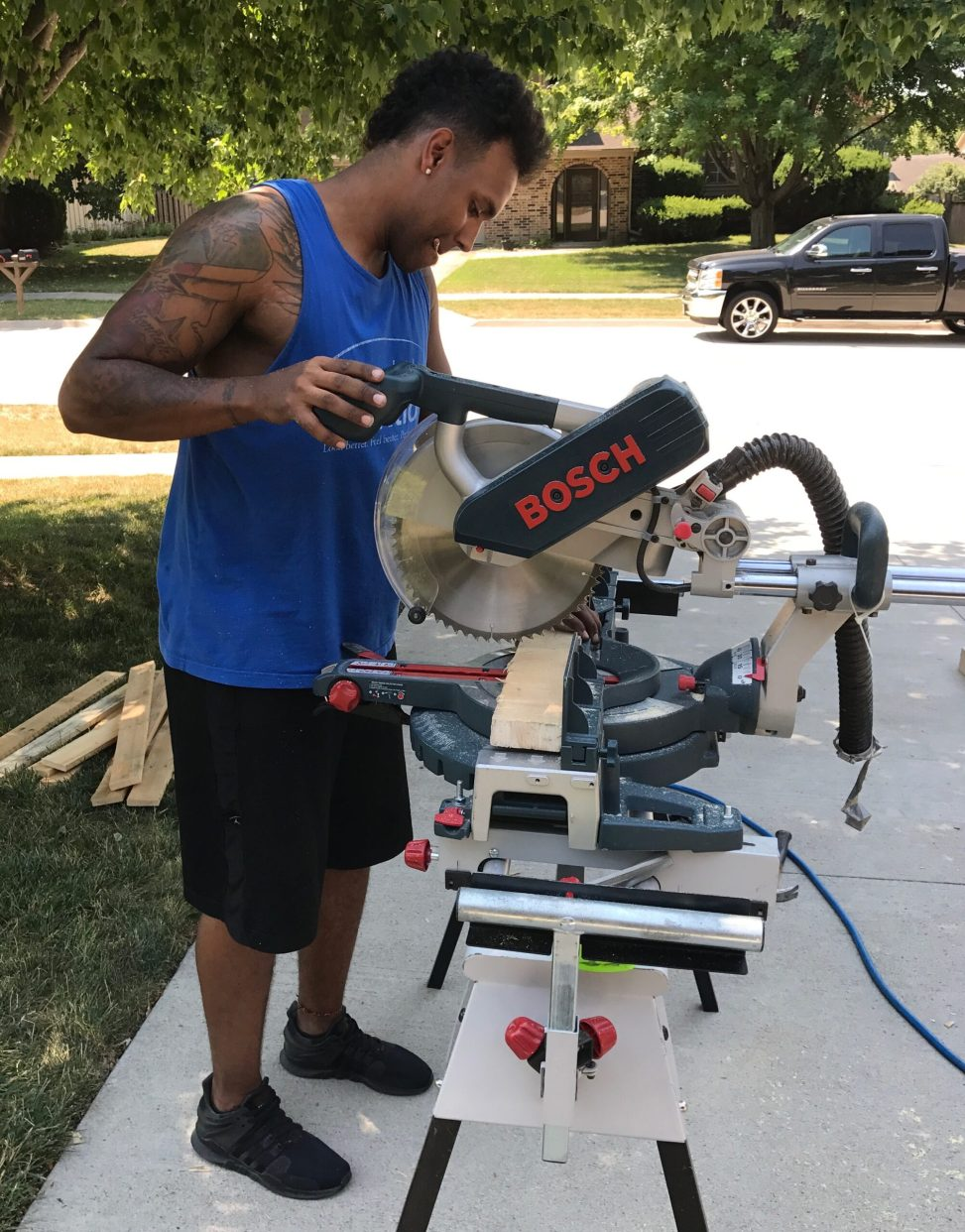 DIYer at work on a saw