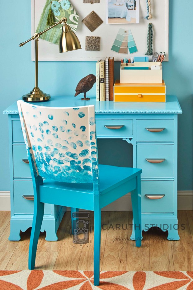 Painted desk and chair
