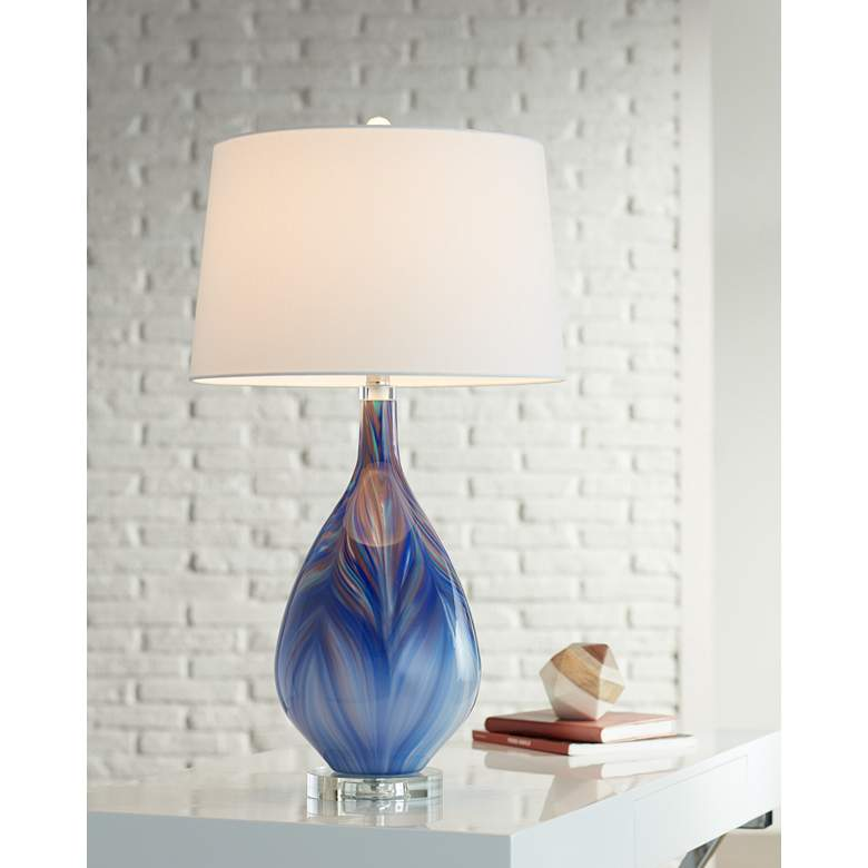 Lamps Plus Possini Euro Taylor Blue Art Glass Table Lamp