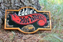 carved cedar man cave garage sign