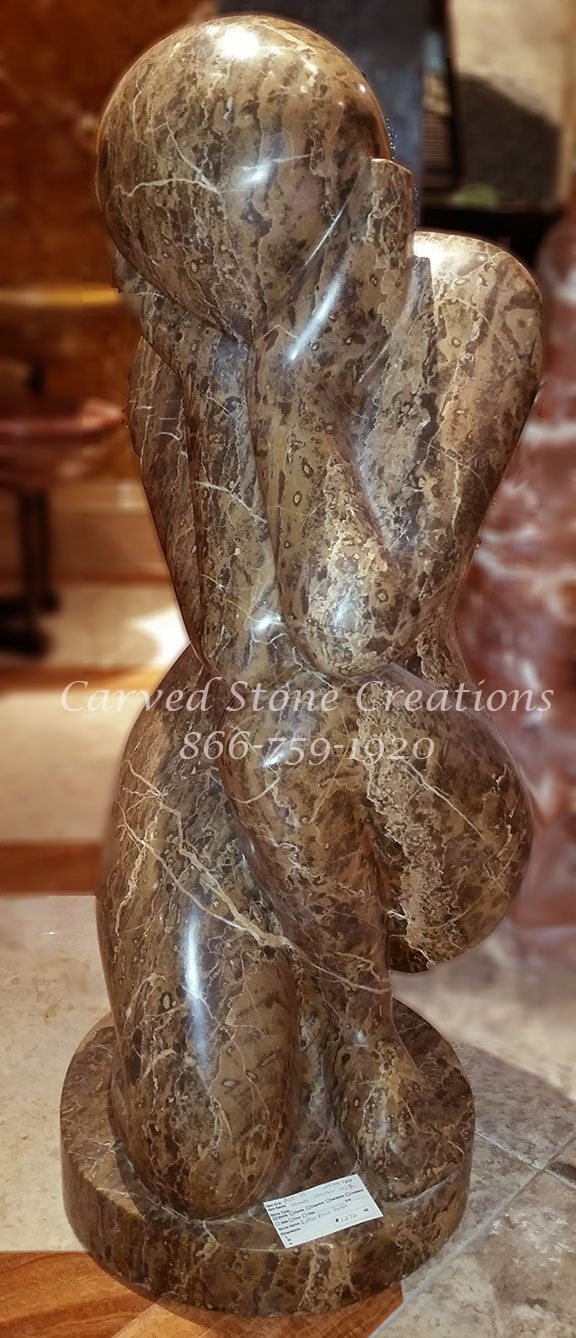 Female Thinker Statue Polished Coffee Brown Marble  CSC