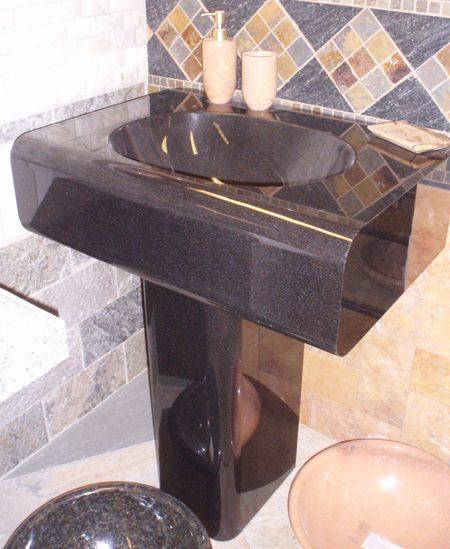 Simplicity Absolute Black Pedestal Sink  Carved Stone