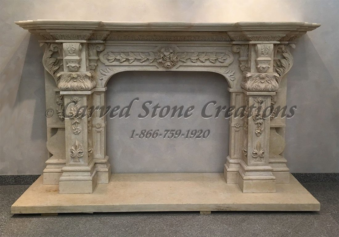 Carved Limestone Fireplace Surround With Acanthus Amp Floral