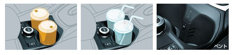 カップホルダー(保温保冷機能付、前席2個)