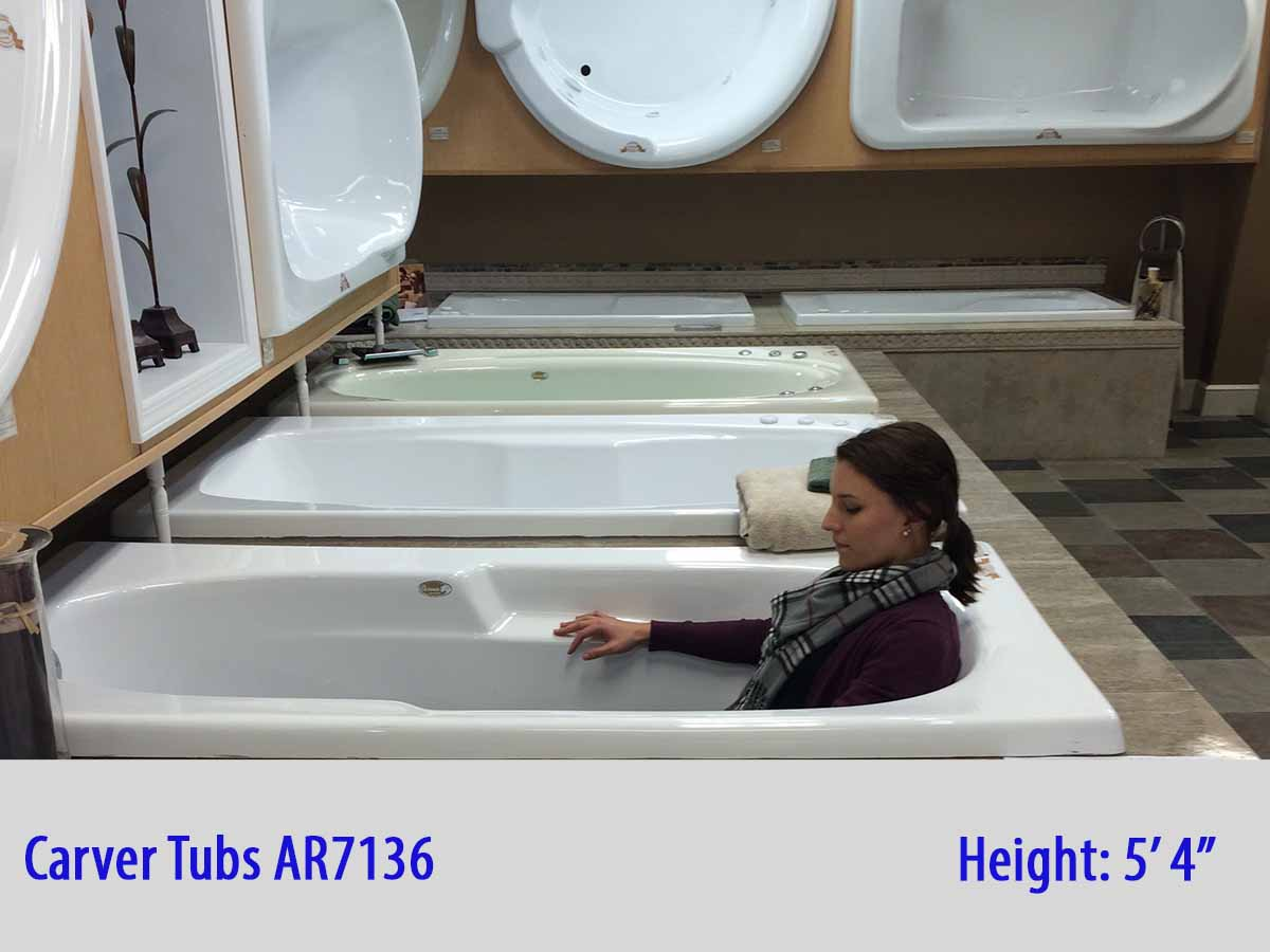 AR7236  72 x 36 12 Jet Whirlpool Bathtub w Heater  Carver Tubs