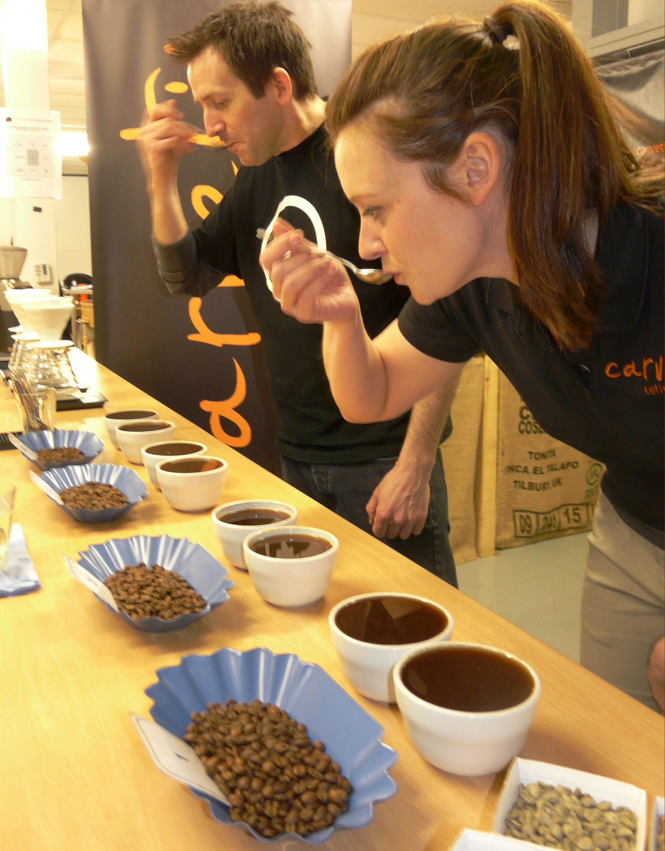 gareth and angharad cupping their coffee's via @carvetiicoffee