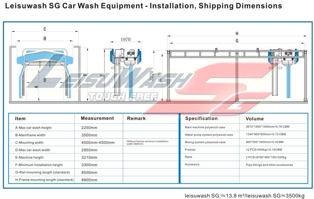 medium resolution of leisuwash sg car wash equipment installation shipping dimensions