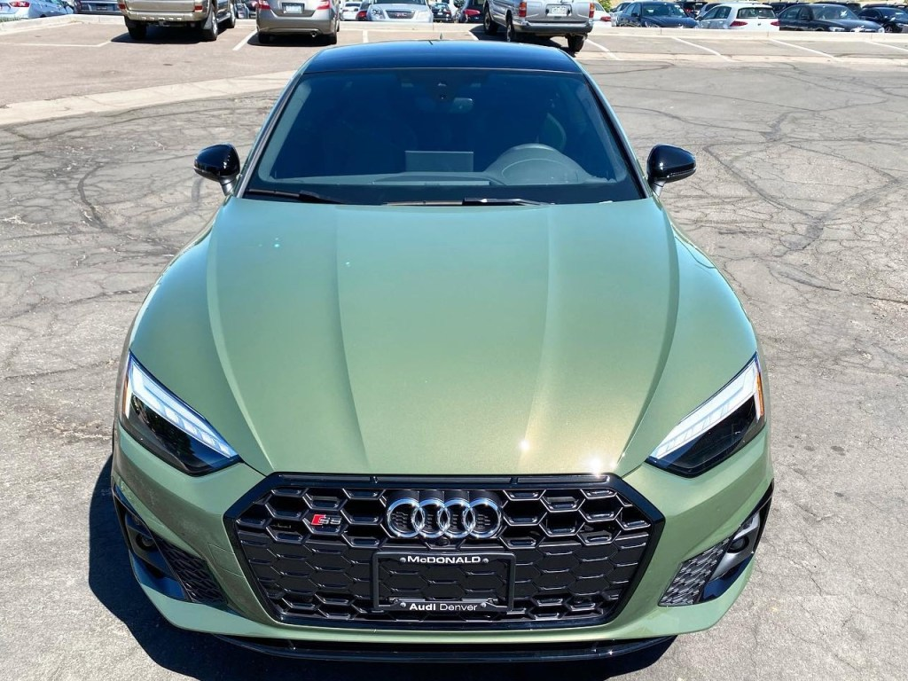 green Audi S5 window tinting front view
