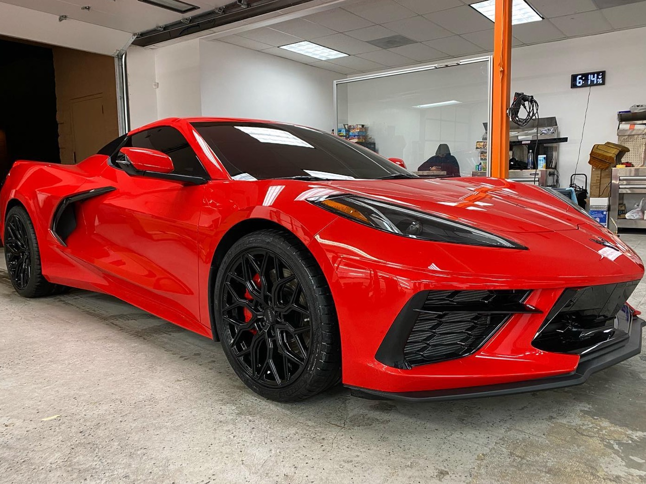 red C8 Corvette window tinting back view