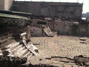 Native ruins in historic downtown Mexico City