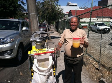 The Juice Man visited daily at the unicycle store in San José