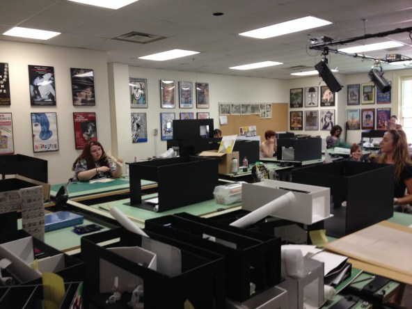 Students working on their final projects for Scenic Design in the Design Lab
