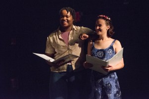 Hundley (right) in one of the new works during her time at New Voices for the Theater.