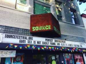 The marquee for the Source Festival, where Rollin stage managed.