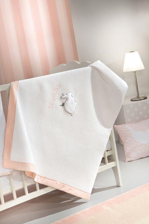 βρεφική-κουβέρτα-πικέ-saint-clair-lapin-pink