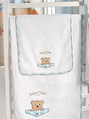 Σετ Βρεφικές Πετσέτες 2 τμχ με Κέντημα SAINT CLAIR Teddy Sky