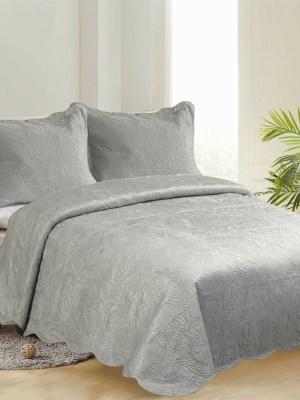 Κουβερλί Υπέρδιπλο Βελούδινο Σετ 220x240 Supersoft Light Grey