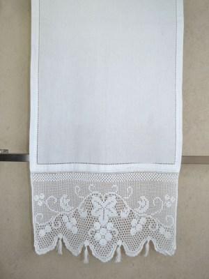 Τραβέρσα Πλεκτή Χειροποίητη με Αζούρ 50x155 DF4365 Λευκό
