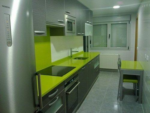 cocina pequea en verde y gris  Casa Web