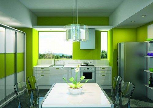 cocina verde manzana  Casa Web
