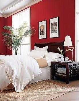 pared roja en el dormitorio  Casa Web