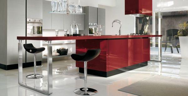 cocina minimalista roja  Casa Web