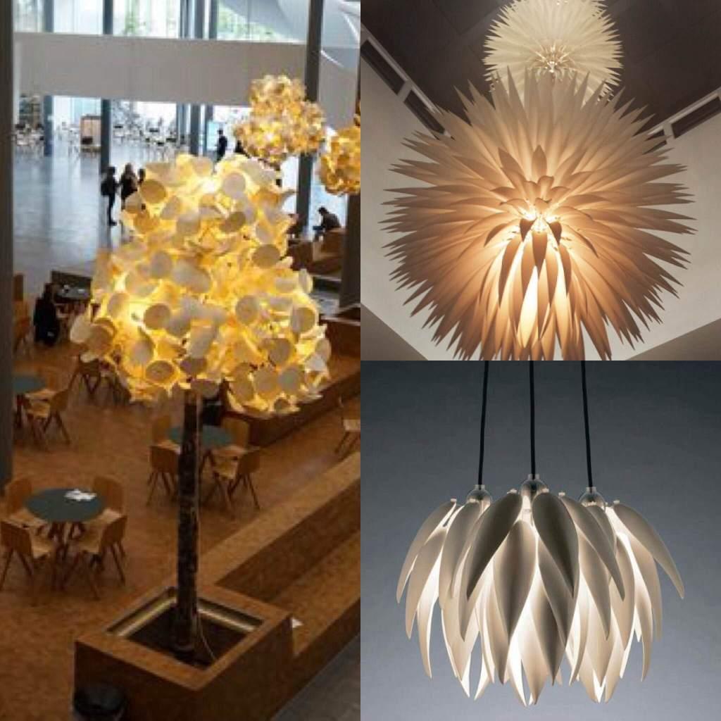 À esquerda, Leaf Lamp, luminária desenvolvida pelos designers suecos Canto Inferior direito: Cantos superior direito: