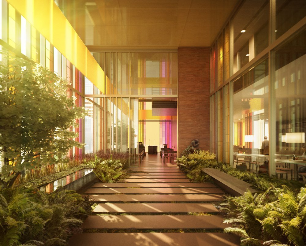 Igreja Luterana Gethsemane de Seattle, EUA. Nesse projeto do escritório Olson Kundig Architects, o vidro colorido é o elemento que se destaca. Veja mais sobre o portfolio do escritório