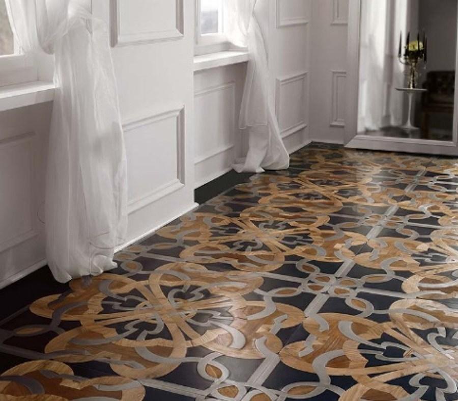 Pisos de madeira, madeira natural, parquet de madeira. Mosaico de madeira. Sala em estilo clássico com piso em mosaico de madeira. Casa ao Cubo.