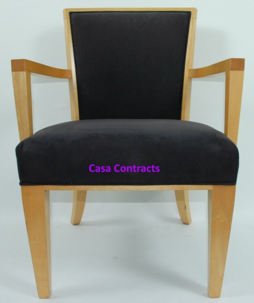 HBF Side Canteen Chair in Cherry Fabric Wooden Frame 12a
