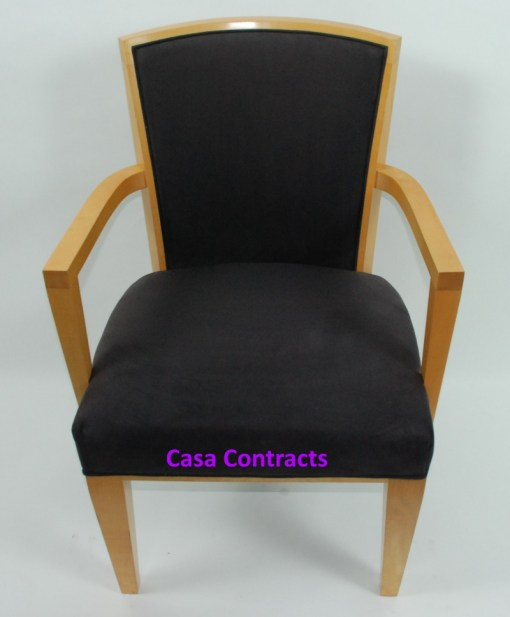 HBF Side Canteen Chair in Cherry Fabric Wooden Frame 1a