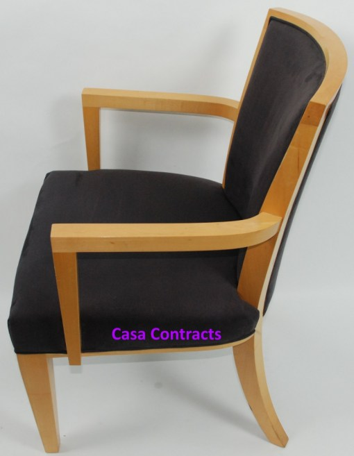 HBF Side Canteen Chair in Cherry Fabric Wooden Frame 3a