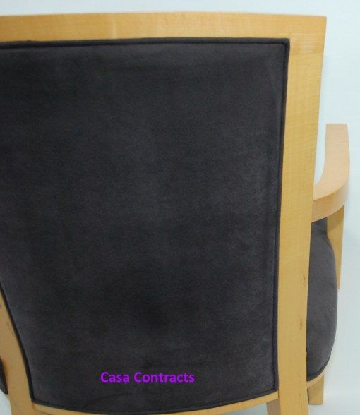 HBF Side Canteen Chair in Cherry Fabric Wooden Frame 5a