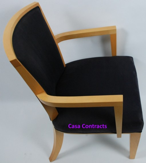 HBF Side Canteen Chair in Cherry Fabric Wooden Frame 7a