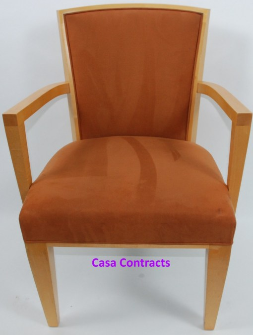 HBF Side Canteen Chair in Tan Fabric Wooden Frame 10a