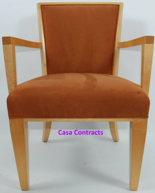 HBF Side Canteen Chair in Tan Fabric Wooden Frame 11a